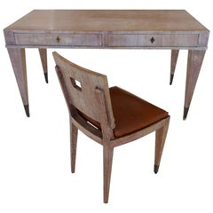 French Mid-Century Cerused Oak Writing Desk and Chair