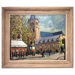 Benedictine Abbey of Saint-germain-des-prés, Oil on Canvas, circa 1930