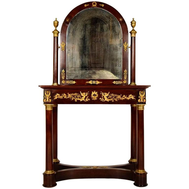 19th century french mahogany empire vanity table with for Vanity table and mirror for sale