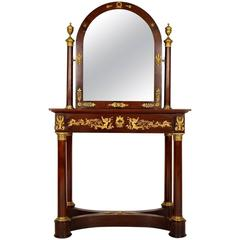 Antique French Mahogany Empire Dressing Table