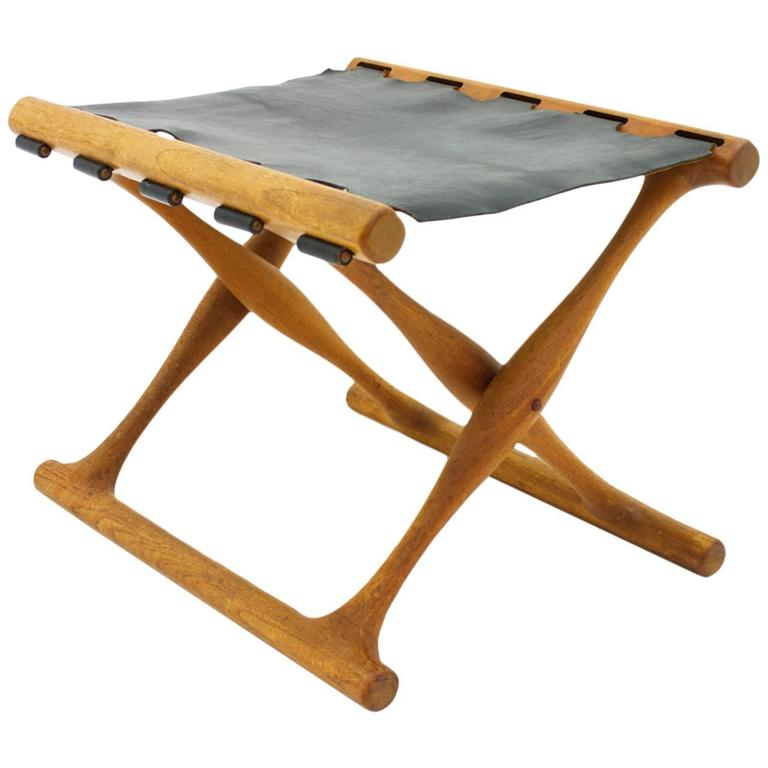Poul Hundevad Folding Stool, Teak and Leather For Sale
