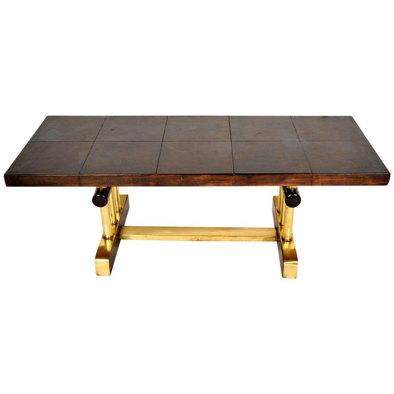 French Leather and Brass Coffee Table For Sale