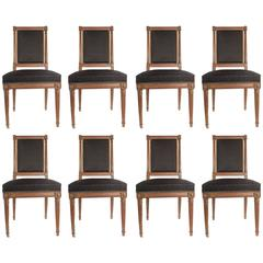 French Set of Eight Louis XVI Style Dining Chairs in Beechwood, circa 1850