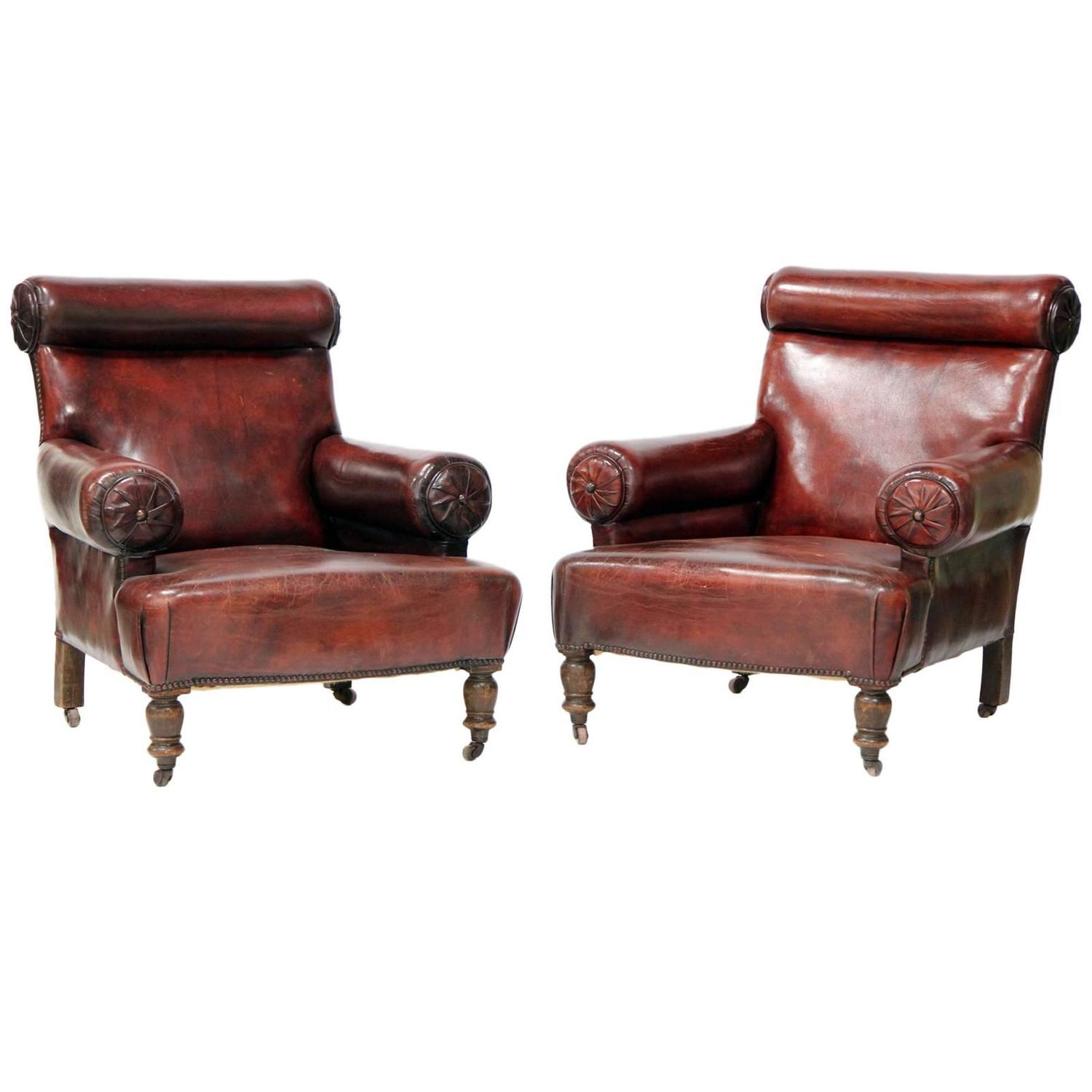 Pair Of Unique, Large Leather Club Chairs For Sale At 1stdibs