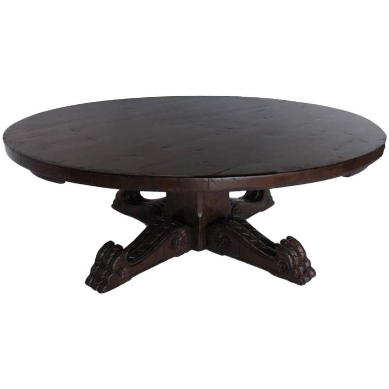 Dos Gallos Custom Carved Round Pedestal Winery Coffee Table For Sale At 1stdibs