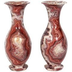 Pair of Large-Scale Agate Urns