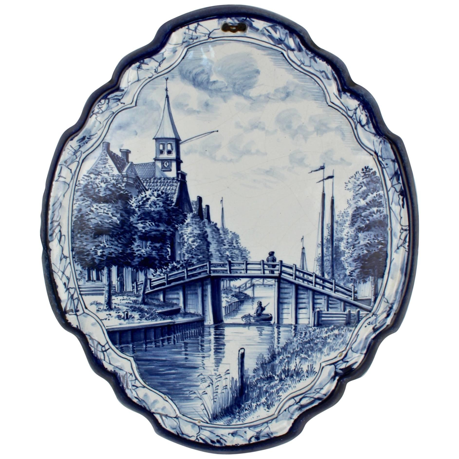 Antique Blue and White Dutch Delft Pottery Wall Plaque with Canal Scene