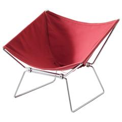 Pierre Paulin Rare Red Canvas Easy Chair for Polak