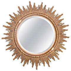 Mid-Century French Gilt Sunburst Mirror