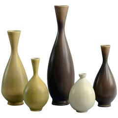 Group of Vases with Haresfur Glaze by Berndt Friberg for Gustavsberg