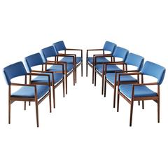 Set of Eight Dining Chairs in Rosewood and Blue Upholstery