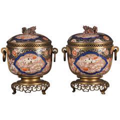 Pair of 19th Century Japanese Imari Vases with French Bronze Mounts