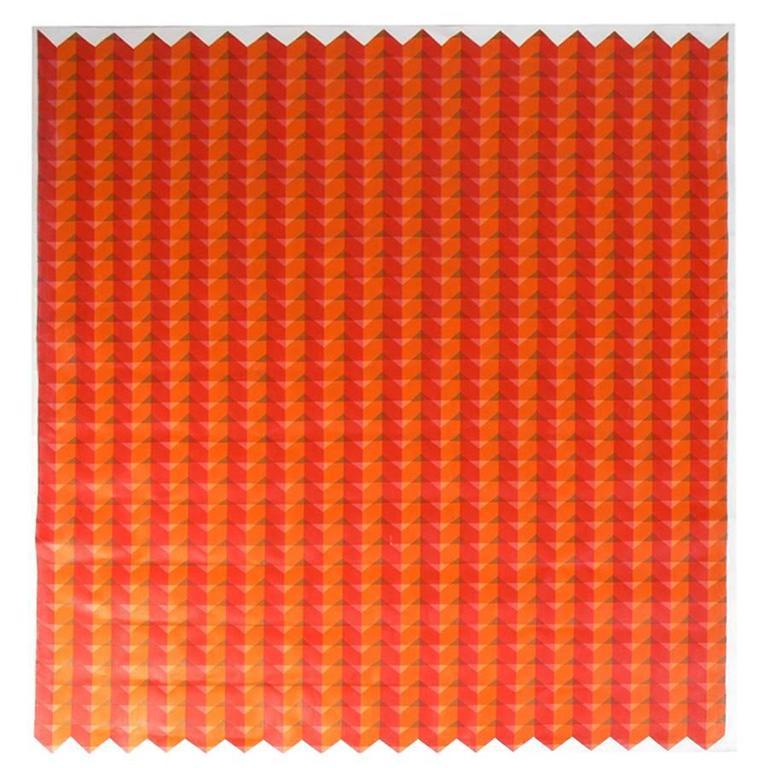 Large Scale Orange Geometric Painting
