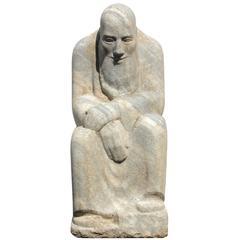 """Old Man Time"" Modernist Granite Garden Sculpture"