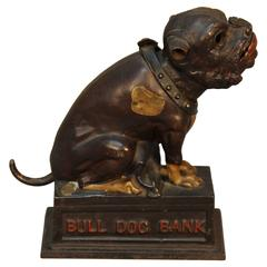 Antique American Bull Dog Bank, Signed and Dated