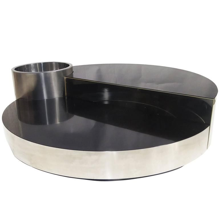Willy Rizzo Lighted Swing Out Cocktail Bar/Coffee Table for Mario Sabot, 1970 For Sale
