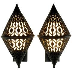 Pair of Black Enamel Pierced Diamond Sconces with Internal Milk Glass Shades