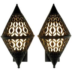 Pair of Black Enamel Pierced Diamond Sconces with Internal Milk Glass Shades