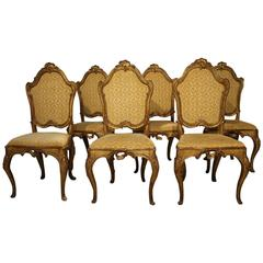 Set of Six 18th Century Italian Dining Chairs in Silvered and Gold Giltwood
