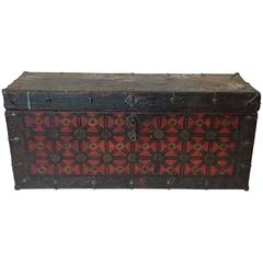 19th Century Painted Tibetan Trunk