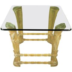 Limed Alder Center Table with Carved Wheat Relief and Glass Top