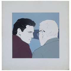 Important Patrick Nagel Unique Acrylic on Board Painting, 1980s