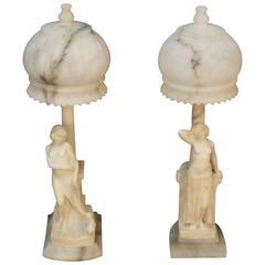 Art Deco Pair of Nude Figural Lamps