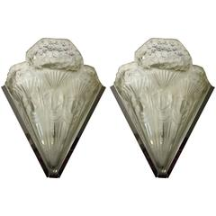 French Art Deco Pair of Sconces