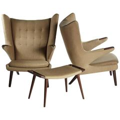 Handsome Pair of Hans Wegner Papa Bear Chairs and Ottoman