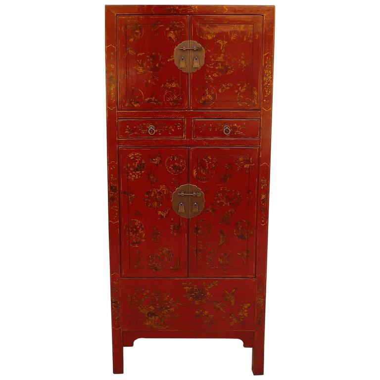 Fine Red Lacquer Armoire with Gilt Motif
