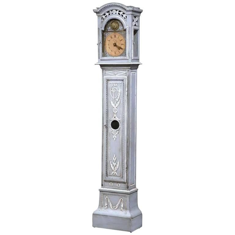 Late 18th Century French Carved Oak and Painted Longcase Clock