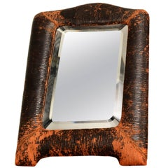 Art Deco Leather Wrapped Table Mirror