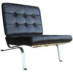Vintage Black Leather Lounge Chair