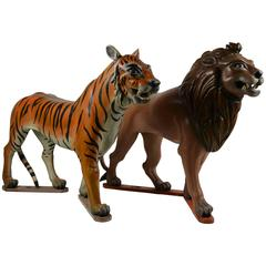 Lion and Tiger Sculptures from Carousel , wood , Europe , Mid-20th Century
