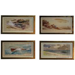 Vintage Set of French Mobility Lithographs