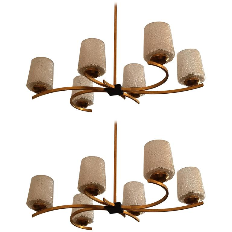 Pair of Arlus French 1960s Moderne Pendant Chandeliers