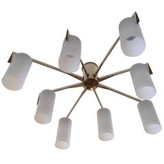 Italian 1950s Golden Sun Flush Ceiling Light Mid Century Chandelier