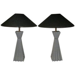 Black and White Zig-Zag Pattern Pyramid Shape Pair Lamps, Contemporary