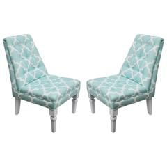 Pair of Turquoise and White Newly Upholstered Chairs