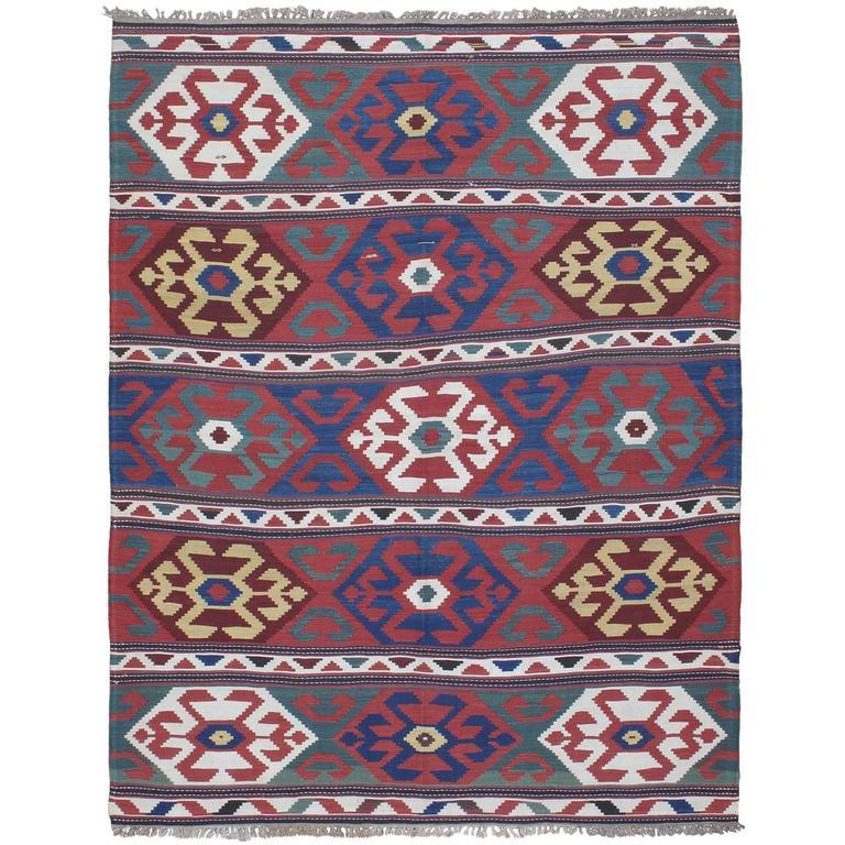 """""""Primary Colors,"""" Antique Kazak Kilim Rug"""