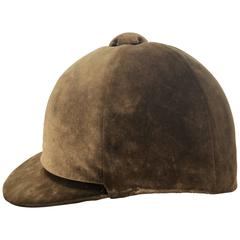 Vintage Taupe Velveteen Riding Hat
