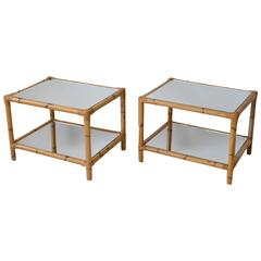 Pair of Midcentury Mirrored Bamboo Two-Tier Side Tables