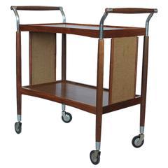 Stylish Mid-Century Wood and Cane Bar Cart