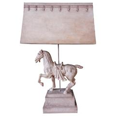 Large Plaster Lamp of Horse, 1950s
