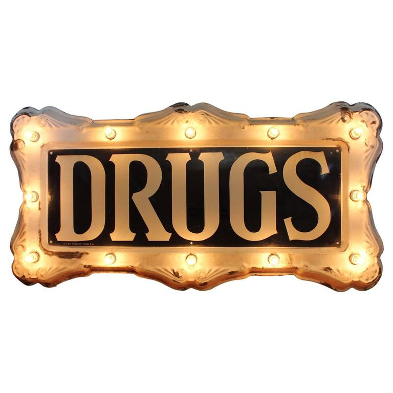 """Rare 1900s Federal Electric Company Light Up Sign """"Drugs"""""""
