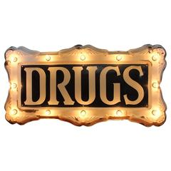 "Rare 1900s Federal Electric Company Light Up Sign ""Drugs"""