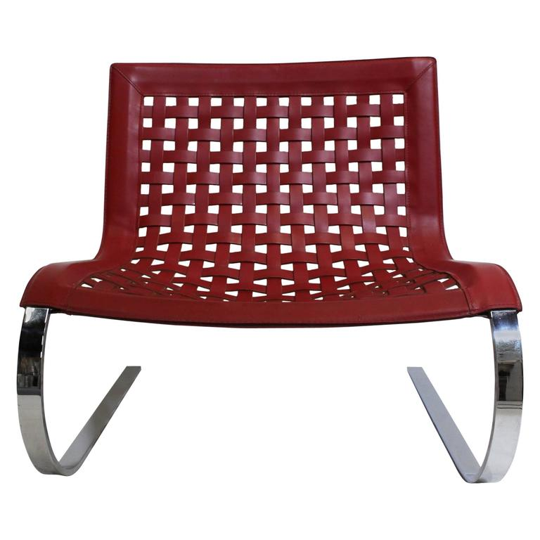 O'mies Red Leather and Chrome Lounge Chair Side Chair by Vegni for Fasem