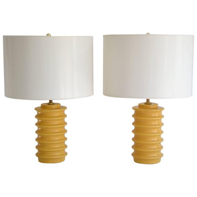 Pair of Mid-Century Ceramic Geometric Form Table Lamps
