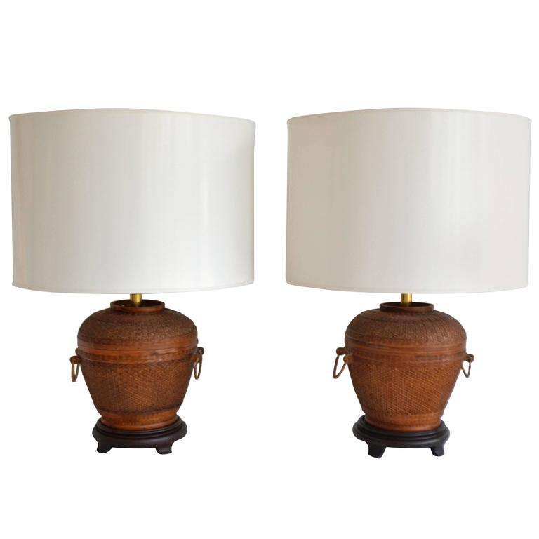 Woven Basket Lamp : Pair of mid century woven reed basket form table lamps at
