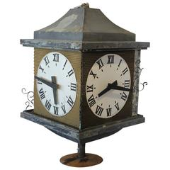 Large Antique Three Sided Outdoor Bank Clock